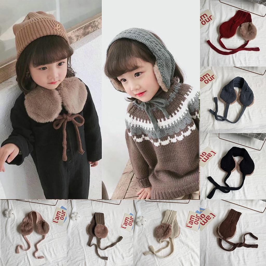 Autumn And Winter Children Two-in-one Plush Color Matching Knitted Earmuffs Joker Plus Velvet Warm Ear Bag Collar Collar 10.14