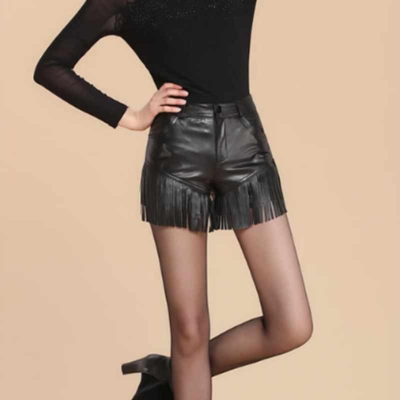 Mulheres de couro genuíno calças curtas 2020 outono inverno envoltório de pele carneiro shorts preto fino ajuste borla em linha reta perna shorts