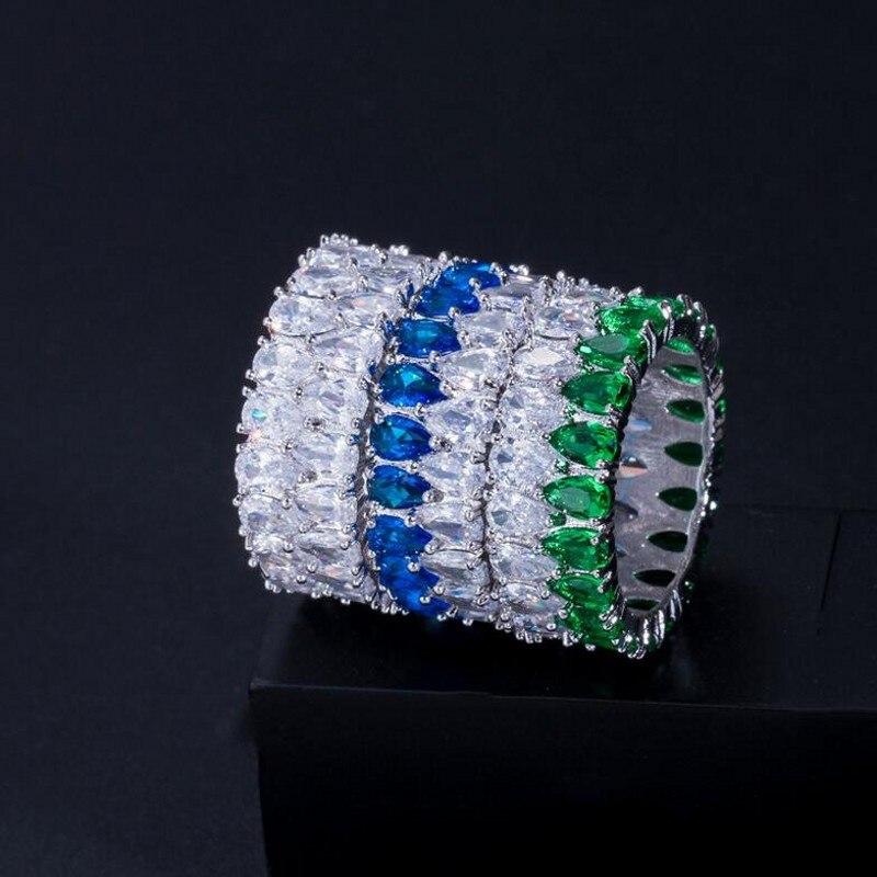 Rulalei tout nouveau bijoux de luxe uniques 925 en argent Sterling Double goutte d'eau AAAAA cubique zircone éternité femmes bague de mariage