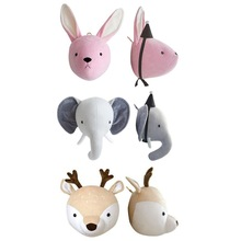 Cute Elephant Rabbit Deer Plush Stuffed Dolls Wall Mount Animal Head for Kids Room Kindergarten Decorative Toys