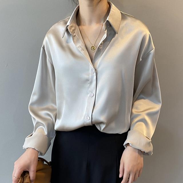 Autumn Fashion Button Up Satin Silk Shirt Vintage Blouse Women White Lady Long Sleeves Female Loose Street Shirts 11355 2