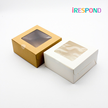 50PCS Brown Kraft Paper Box With Window Candy Muffin Cake Boxes Wedding Gift Craft Packagin White 4 Cup Holder