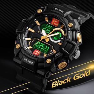 Image 3 - SKMEI Military Sports Watches Men Fashion Dual Display Digital Watch Waterproof Luminous Quartz Wristwatch montre homme 1529
