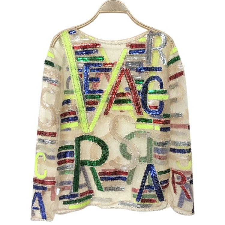 Automne nouveau Designer 3D maille Perspective paillettes Alphabet chemises à manches longues mince pull bas Sexy Blouse femmes