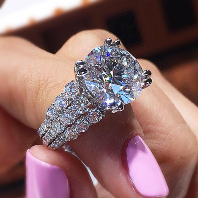 Huitan Dazzling 3 Rows CZ with Big Round Zircon Elegant Women Wedding Rings High Quality Delicate Girl Gift Ring Fashion Jewelry