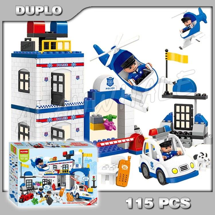 115 pièces Ville mon premier poste de Police Set policier hélicoptère modèle blocs de construction briques enfants jouets compatibles avec Lego Duplo