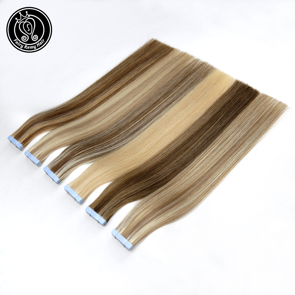 Fairy Remy Hair Tape In Human Hair Extensions 18-20inch Real Remy Hair On Adhesives Tape On PU Skin Weft Extension Invisible 40g