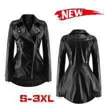2019 New Fashion Women's Leather Jacket Solid Color Turn-down Collar Swallowtail Wind Ruffled PU Jacket Female Black S-3XL. free shipping new cool hot pu mandarin collar men s black solid leather motorcycle biker jacket sizes s to xxl