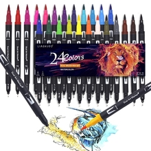 24 Colors Watercolor Pens Drawing Painting FineLiner Dual Tip Brush Art Markers Pen For Drawing Painting Calligraphy Art Supplie