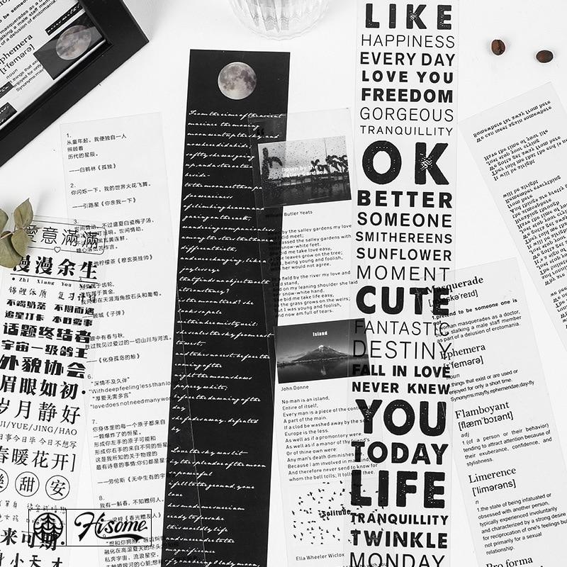1 Pc VintageTranslucent PET Washi Tape Retro Word Letter Masking Tape Bullet Journal Decorative Tape Stationery