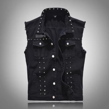 Chaleco vaquero con remaches Punk Rock para hombre, chaqueta vaquera negra, Estilo...