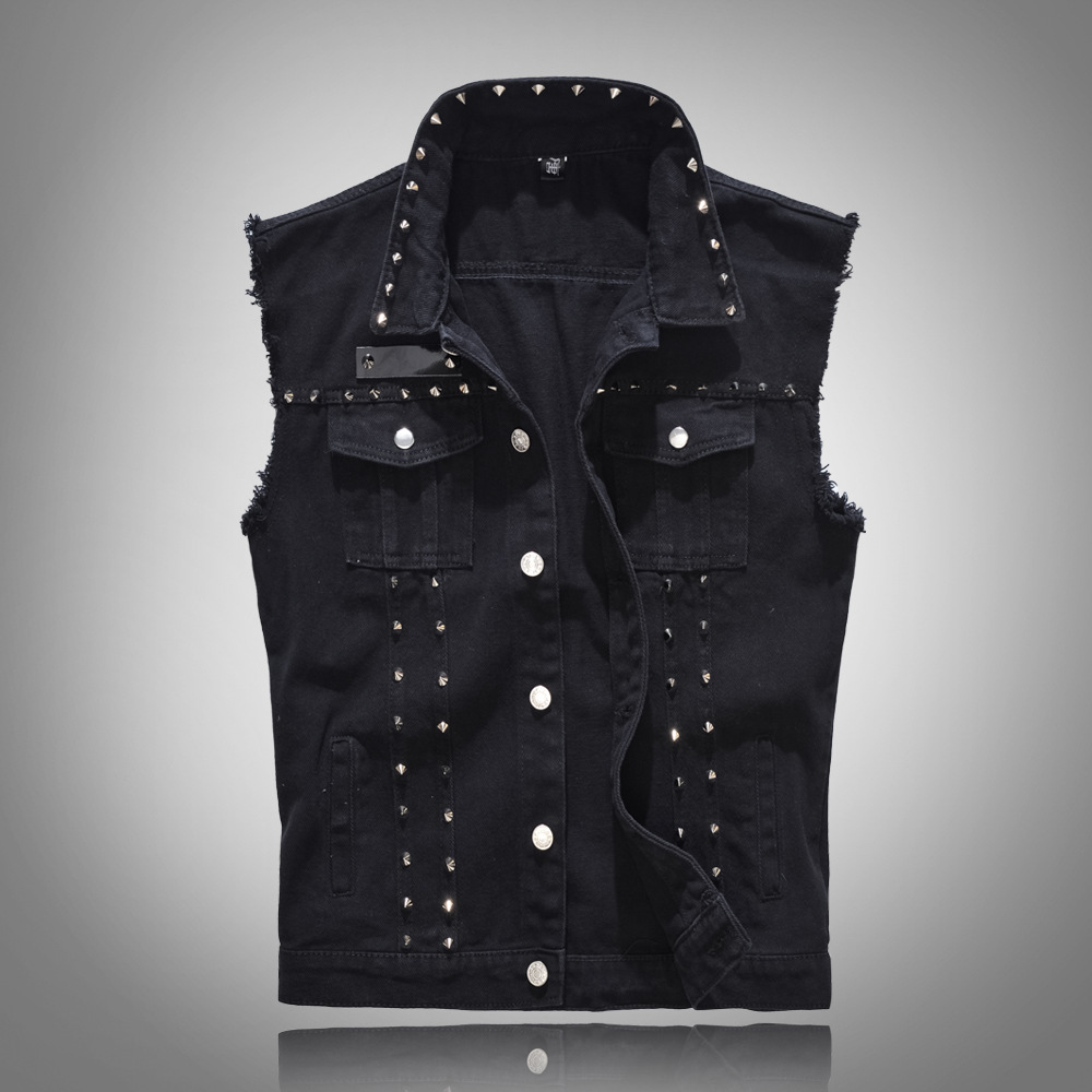 New 2019 Denim Vest Men Punk Rock Rivet Cowboy Black Jeans Waistcoat Fashion Men Motorcycle Style Sleeveless Jeans Jacket M-5XL