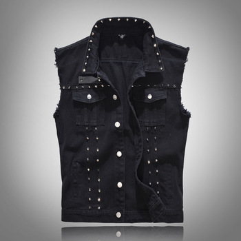 New 2020 Denim Vest Men Punk Rock Rivet Cowboy Black Jeans Waistcoat Fashion Men Motorcycle Style Sleeveless Jeans Jacket M-5XL