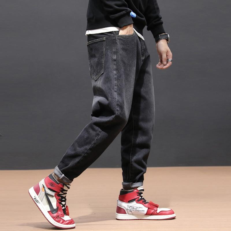 Japanese Vintage Style Fashion Men Jeans Loose Fit Retro Black Color Harem Jeans Men Cargo Pants Hip Hop Jeans Homme Size 28-42