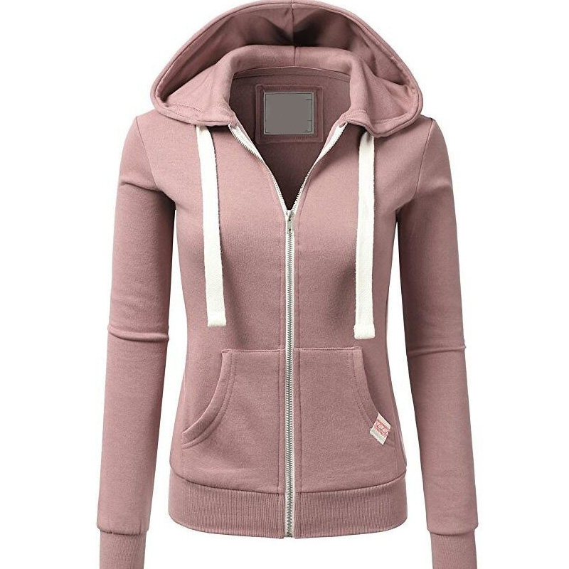 Harajuku Women Pink Hoodies Sweatshirt Fashion Zipper Pocket Hooded Jacket Outwear Ladies Solid Slim Pullover Clothes Moletom