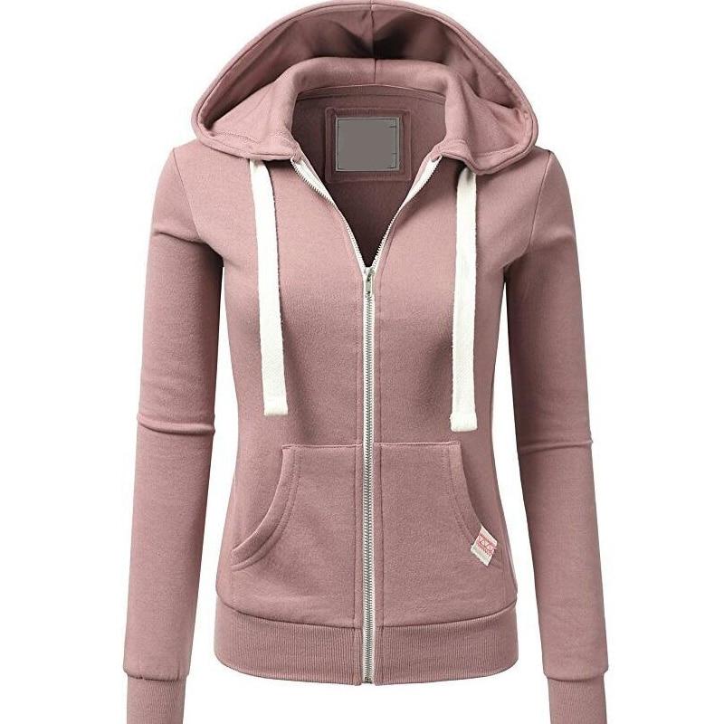 Harajuku Women Pink Hoodies Sweatshirt Fashion Zipper Pocket Hooded Jacket Outwear Ladies Solid Slim Pullover Clothes Moletom