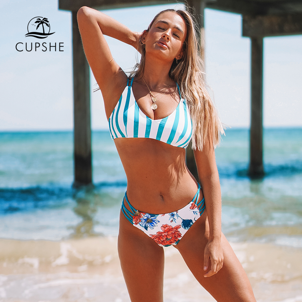CUPSHE Stripe And Floral Strappy High-Waisted Bikini Set Sexy Cut Out Swimsuit Two Pieces Swimwear Women 2020 Beach Bathing Suit