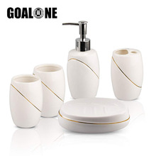 5Pcs Ceramic Bathroom Accessories Set Soap Dispenser Toothbrush Holder Tumbler Dish Sets for Bath Decor Home Gift