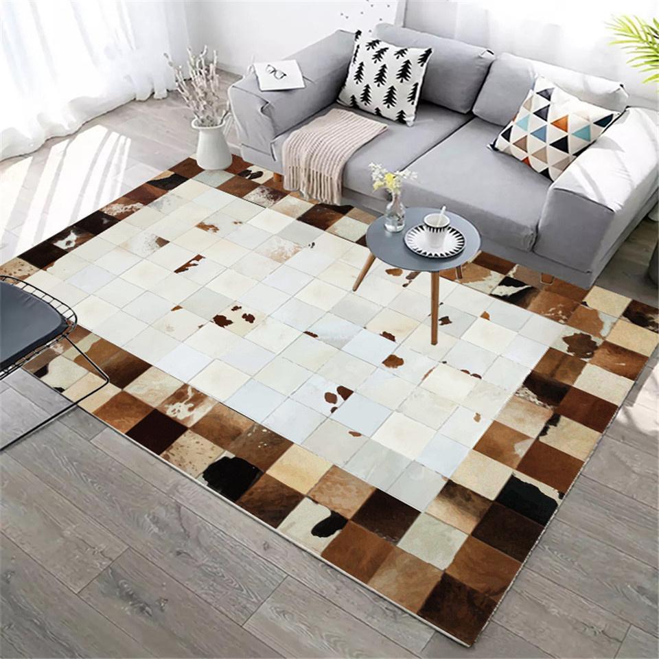 15Leather Carpet Modern Nordic Luxury Plaid Fake Fur Rug Living Room Decoration Animal Skin Rugs Bedroom Beside Mat