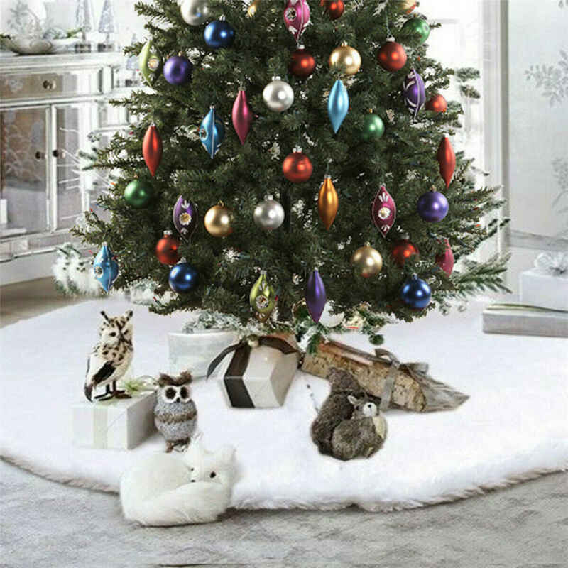 Christmas Tree Skirt Base Soft Plush Floor Mat Cover XMAS Party Ornament Pad Hot Free shipping Christmas tree mat