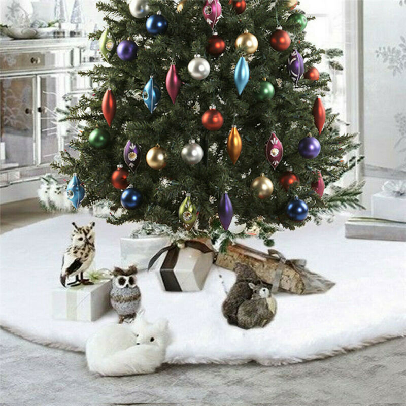 White Christmas Tree Skirt Base Faux Fur Home Xmas Floor Decor Ornament 122cm UK