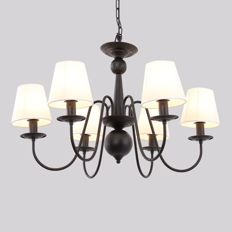 American LED Wrought Iron Chandelier Living Room Bedroom Lamp Rural Country Dining Room Study Indoor Chandelier