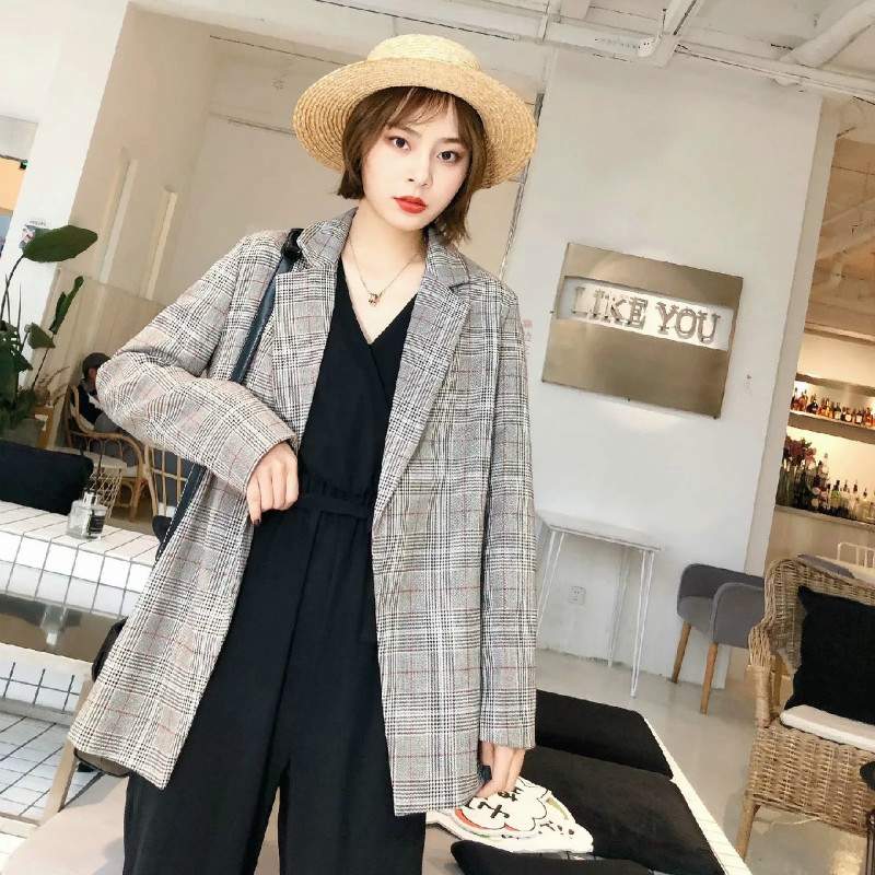 Casual Ladies Small Suit 2020 New Loose Ladies Blazer Stylish retro check mid-length jacket feminine Temperament coat