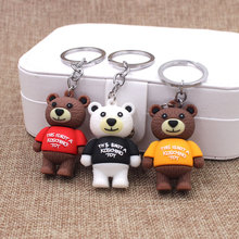 New Cartoon The bear Key chain Animal Silicone Candy color Keychains Woman leather Jewelry Metal Keyring Car Bag Pendant new cartoon lala kuma bear brown rabbit key chain animal silicone keychains woman leather jewelry metal keyring car bag pendant