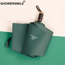 SHOWERSMILE Umbrella Rain Women Dark Green Uv Protection Windproof Parasol Solid Three Folding Female Paraguas