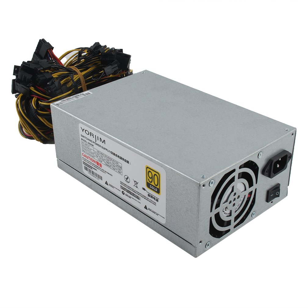 200-240v Graphics Card Mining Machine Power Multi-channel 2000w 8 Card 2000w Atx Gold Mining Power Supply Sata Ide 8 Gpu