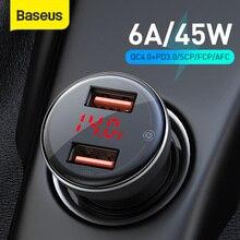 Автомобильное зарядное устройство Baseus, 45 Вт, USB 4,0, для Samsung Xiaomi 10 QC 4,0 3,0 PD 3,0