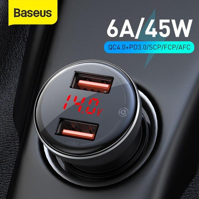 Baseus 45w carga rápida 4.0 carregador de carro usb para samsung xiaomi 10 qc 4.0 3.0 pd 3.0 carregamento rápido do carro para o telefone carregador de carro