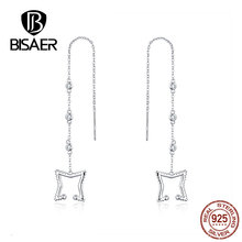 BISAER Stud Earrings Real 925 Sterling Silver Star Shape Long Earrings for Women Clear Cubic Zirconia Fashion Jewelry HVE154 bisaer stud earrings real 925 sterling silver star shape long earrings for women clear cubic zirconia fashion jewelry hve154