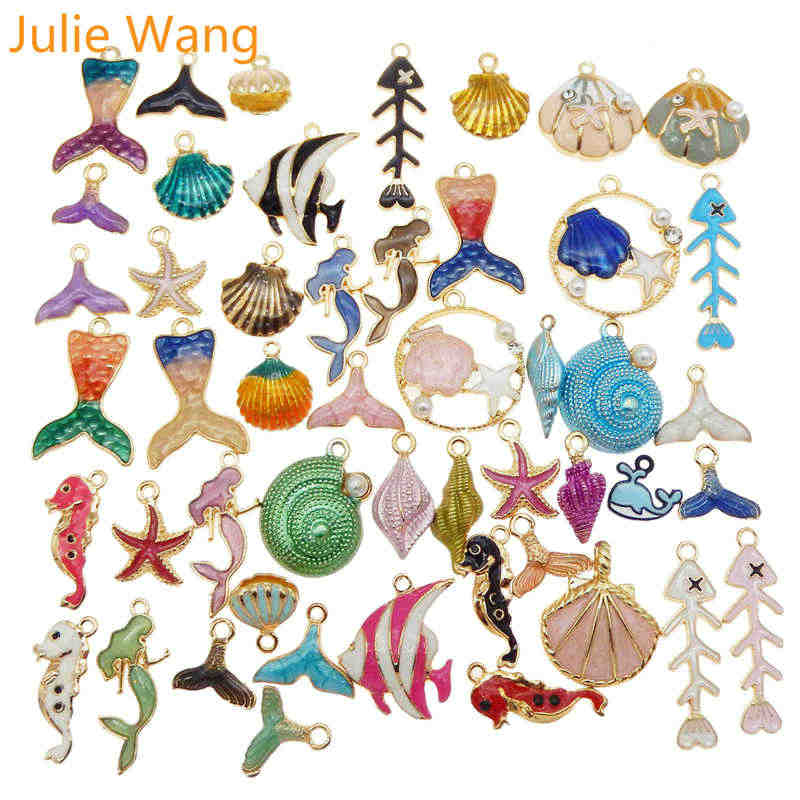 Julie Wang 10 Pcs Enamel Organisme Laut Pesona Paduan Acak Campuran Putri Duyung Shell Ikan Kalung Gelang Perhiasan Membuat Aksesori