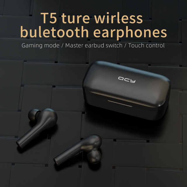 QCY T5 Wireless Bluetooth Headphones V5.0 Touch Control Earphones Stereo HD Talking with 380mAh Battery- 1