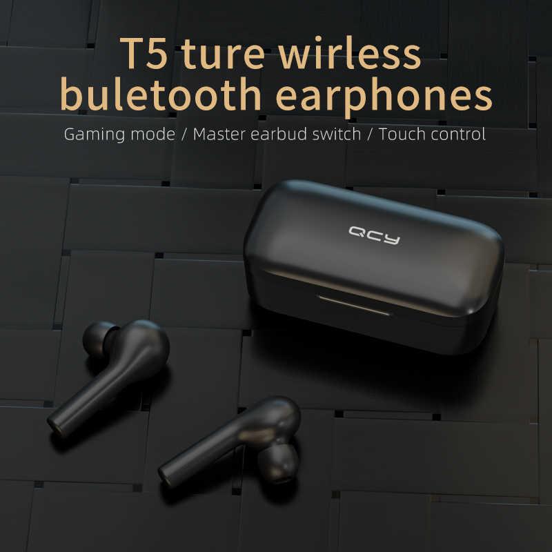 Qcy t5 sem fio bluetooth fones de ouvido v5.0 controle toque estéreo hd falando com 380 mah bateria