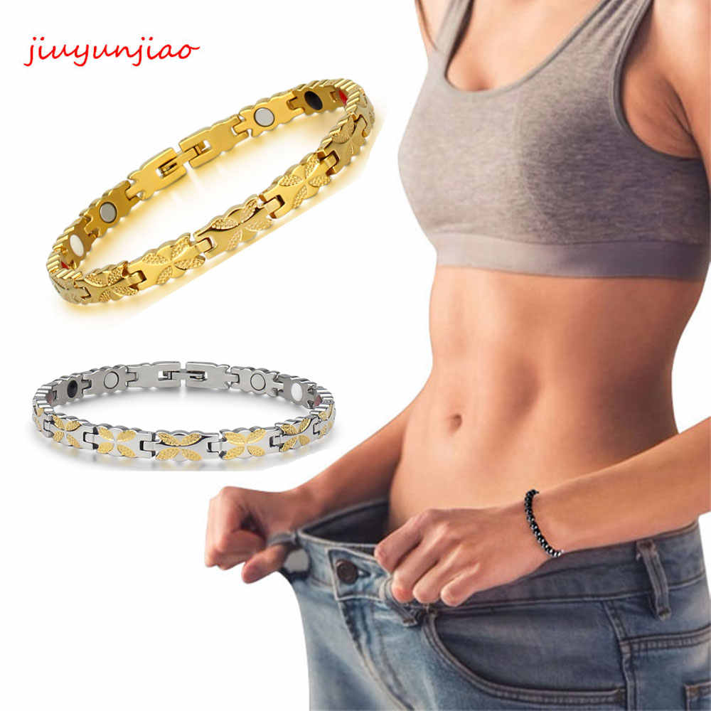 Zayıflama mıknatıs bilezik sağlıklı paslanmaz çelik sağlık manyetik altın bilezik el zinciri kadınlar sağlıklı manyetik zayıflama