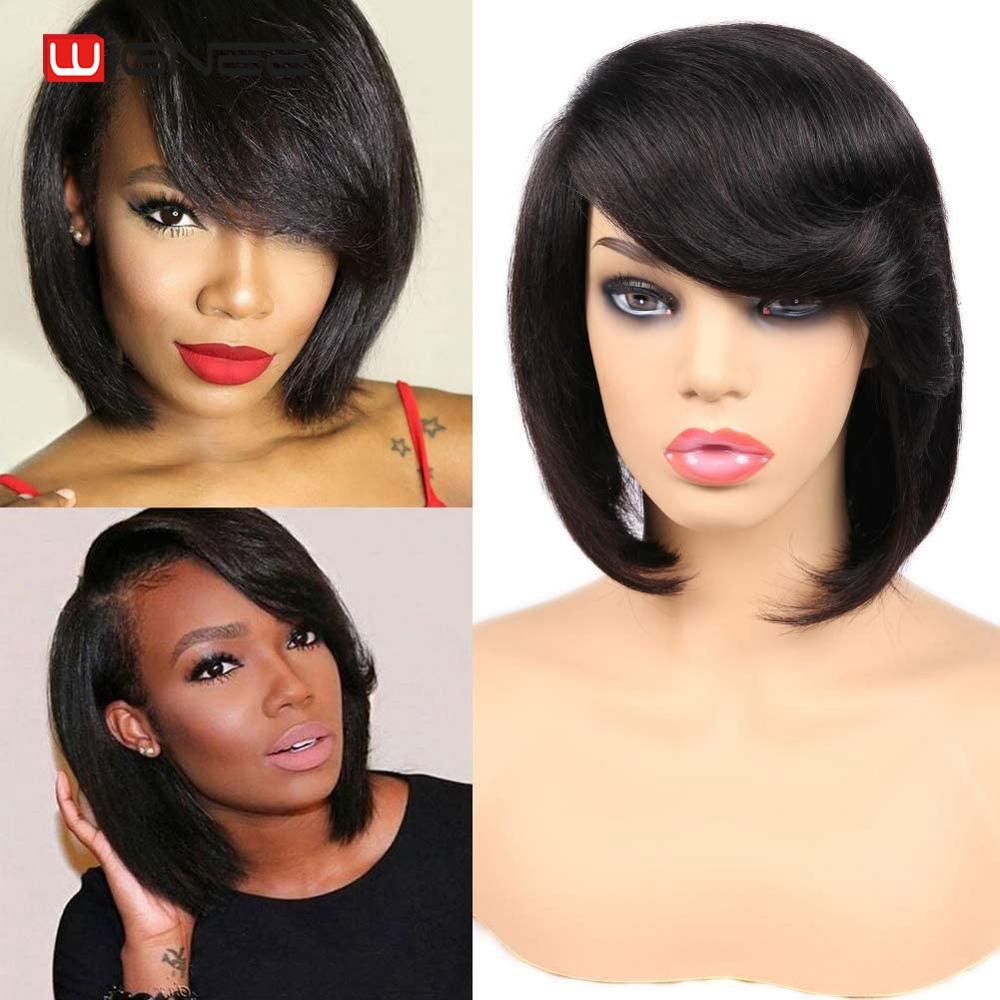Wignee Lace Part Bob Human Wig For Black Women Short Straight Hair Side Part Bangs Glueless Brazilian Remy 2020 New Natural Hair
