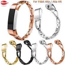 Pulsera de diamantes con incrustaciones de acero inoxidable para Fitbit, pulsera clásica de Alta calidad, accesorios para reloj Fitbit Alta HR