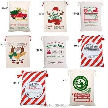 Wholesale 38 Styles Santa Sacks Christmas Bag 20pcs/lot Large Plain Santa Bag Drawstring Santa Sack Gift Bag Burlap Personalized
