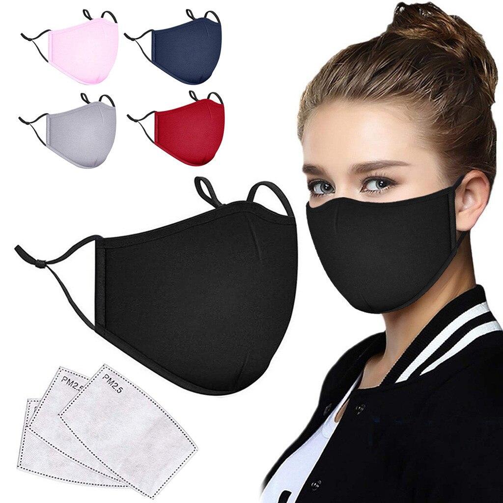 Маска для лица для взрослых + 3 фильтра, черная хлопчатобумажная ткань для женщин и мужчин, Mascarilla, моющаяся и многоразовая Пылезащитная унисе...
