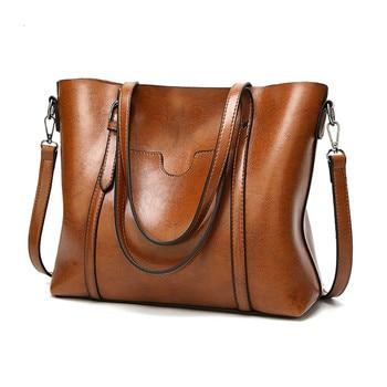 New fashion womens bag shoulder messenger oil wax leather ladies handbag tote crossbody bags for women