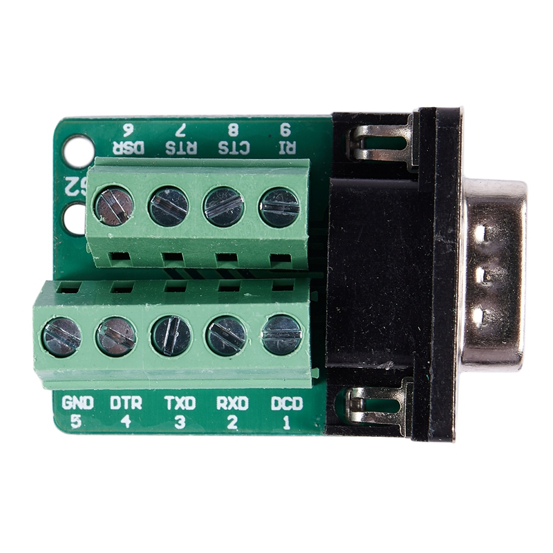 Hot 3C-DB9 D-SUB 9 Pin Male Adapter RS232 To Terminal Connector Signal Module Green