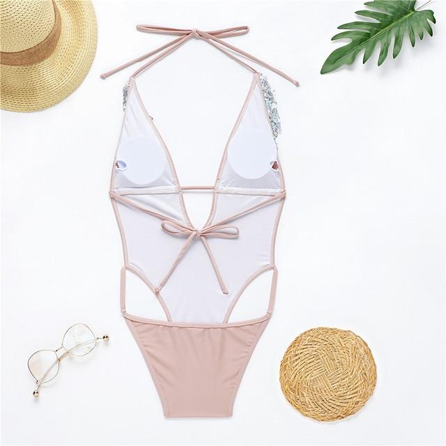 Фото женский купальный костюм с открытой спиной розовый телесный цена