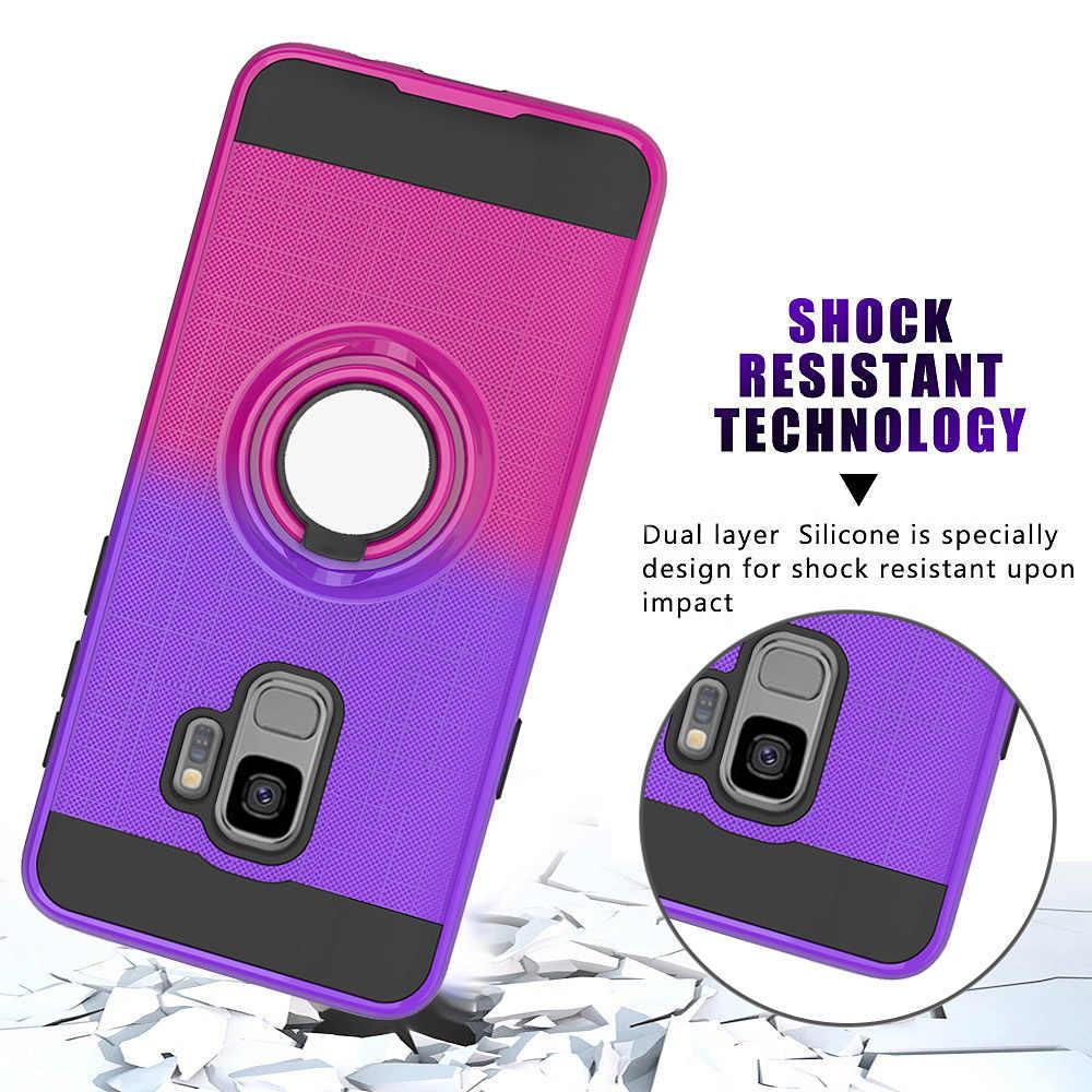Защитный Мягкий противоударный чехол для samsung Galaxy S9, чехол с кольцом на палец, подставка, чехол для телефона