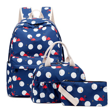 2019 New 3 Set Backpacks Women Dot Print School Bags For Teenage Girls Laptop Backpack Pencil Bag Fashion Daypack Travel Mochila baida fashion green floral print backpack flower pattern women cool daypack teenage school bags for youth girls boys rucksacks