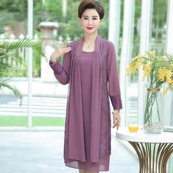 Chiffon pak jurken voorjaar nieuwe midden leeftijd vrouwen elegante plus size moeder tweedelige set vest vest jurk DV472