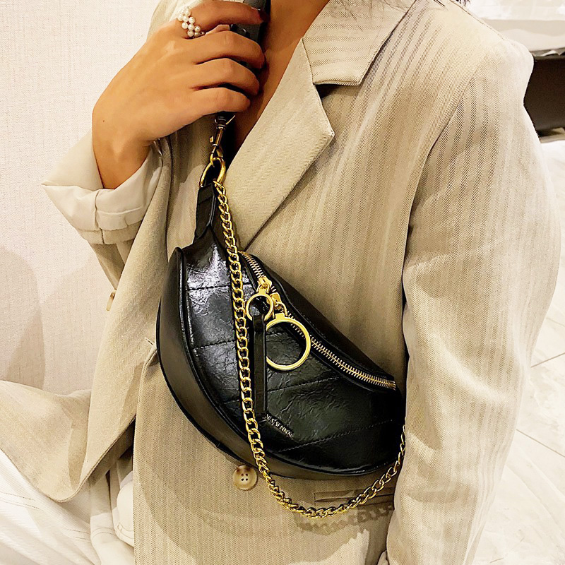 Trendy Chest Bags For Women 2020 Chain Crossbody Shoulder Bags Small Waist Bag Vintage Women  Leather Handbag And Purse