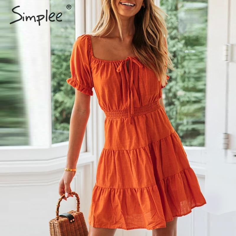 Simplee Sexy Lantern Women Dress Streetwear High Waist V Neck Beach Summer Dress A-line Strap Solid Ruched Holiday Mini Dress