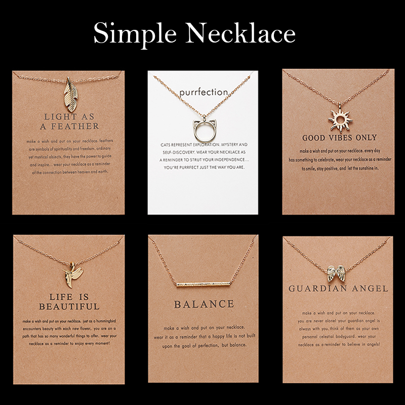18 Style Fashion Geometry Round Necklace Sun Leaf Cat ear Pendant Gold Chain Charm Necklace for Women Bijoux Jewelry Accessories(China)